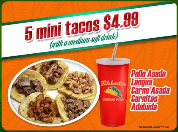 Meal Runner- Filiberto's 5 mini tacos special